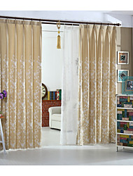 Country Curtains® One Panel Beige Floral Linen Cotton Embroidery Curtain Drape