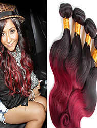 """3 Pcs/Lot 12""""-26""""Peruvian Unprocessed Virgin Remy Human Hair #1B-Burgundy Color Ombre Body Wave Hair Weaves"""