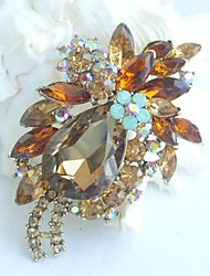 Women Accessories Art Deco Gold-tone Topaz Rhinestone Crystal Brooch Bouquet Flower Brooch Women Jewelry