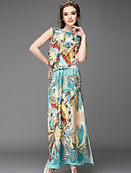 Summer 2015 Women's Vintage Print Silk Satin Beach/Casual/Party/Plus Sizes Sleeveless Blouse+Long Skirt Two Piece Set
