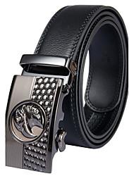 fondsun mens nuovo stile nero da cintura fashion business casuale larghezza genuino 3,5 centimetri di pelle (9)