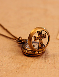 bolsillo antiguo de la vendimia pequeño reloj collar de cadena transversal hueca caso de bronce relojes steampunk de cuarzo