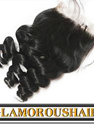 "1pc 10 ""- 24"" cierre de cordones virgen tamaño 4x4 pelo chino parte libre onda natural negro natural remy del pelo"