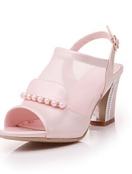 Sandals Spring Summer Fall Other Leatherette Casual Chunky Heel Imitation Pearl Buckle Blue Pink White