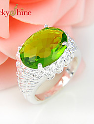 Lucky Shine Unisex Silver Rings With Gemstone Fire Oval Peridot Crystal