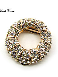 Maikun Scarf Ring Circle Diamante Scarf Ring Brooch Broach Breastpin Gold