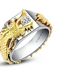 Golden Dragon Pave 0.25CT Men Jewelry Ring Sterling Silver Male Ring SONA Simulate Diamond Mount Husband Engagement Ring