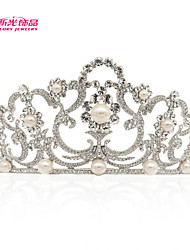 Neoglory Jewelry Big Tiara Crown with Austrian Rhinestone and Imitation Pearl  for Lady Wedding Pageant Girls