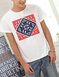 Masculino Camiseta Casual Estampado Manga Curta Masculino
