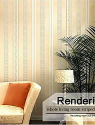 designs europe de bandes de papier peint à rayures minces contemporaine crémeuse mur jaune couvrant l'art non-tissé mur de papier