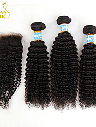 3 Bundles Peruvian Kinky Curly Virgin Hair With Closure Unprocessed Human Hair Weave And Free/Middle Part Lace Closures