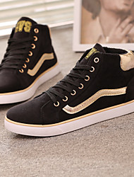 QSBL Men's Shoes Black/Blue Flat Heel Casual (Canvas)