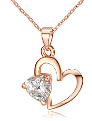 Sweety 18k Rose Gold Plated Clear Simulated Diamond Heart Pendant Necklace