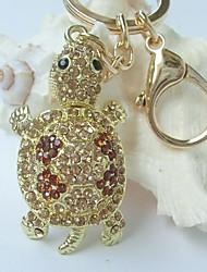 Lovely Tortoise Turtle Key Chain With Topaz Rhinestone crystals