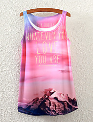 Women's Sleeveless Landscape Letters Graphic Printed Vest