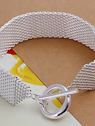Simple Fashion Women's Web TO  Silver Plated Brass Chain & Link Bracelet(Silver)(1Pc)