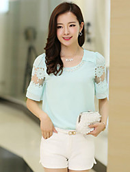 Women's Casual/Daily Simple Summer Blouse,Solid Short Sleeve Thin