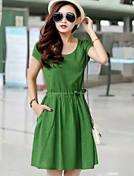 Women's Casual/Daily Cute Loose / Shift Dress,Solid Round Neck Above Knee Short Sleeve Blue / Pink / Red / Green Linen Summer