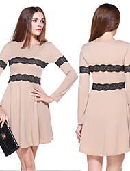 Morefeel Women's Casual/Lace Round Long Sleeve Dresses