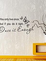 stickers muraux murale de style de décalcomanies est une fois assez de mots anglais&cite muraux PVC autocollants