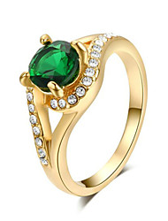 18k Yellow Gold Plated 4 Prong with Shinning Green Austrian Crystal Gorgeous Engagement Ring