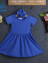 CANIS@Girl's Summer Short Sleevees Blue Round Neck Dresses (Cotton)