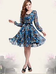 Women's V-Neck Dresses , Chiffon Print/Party/Work Long Sleeve summer