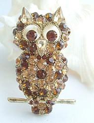 Women Accessories Gold-tone Topaz Rhinestone Crystal Brooch Art Deco Bird Owl Brooch Women Jewelry
