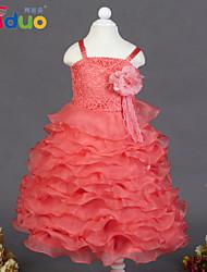 Kids Girls' 3D Flower Brooch Mesh Patchwork Layered Ruffles Ball Gown Braces Pageant Formal Full Dress