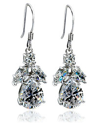 Dewdrop Sterling Silver Dangle Earrings for Women 1.3CT/Piece SONA Simulate Diamond Earrings Engagement Platinum Plated