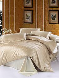 Beige Stripe Silk Duvet Cover Set Queen Size