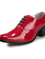 ZNPNXN Men's Shoes Black/Red/White Flat Heel Oxfords (Patent Leather)