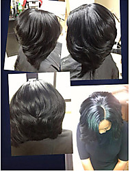 Fashionable 12inch 100% Brazilian Human Hair Full Lace Natural Black Color Bob Straight Wigs,Free Shipping
