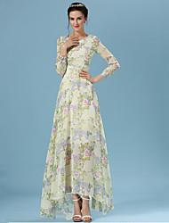 Women's Casual/Print Micro-elastic Long Sleeve Maxi Dress (Chiffon/Silk)