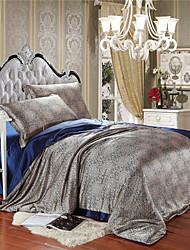 Dark Blue Silk Duvet Cover Queen King Size