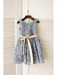 Trapèze Longueur Genou Robe de Demoiselle d'Honneur Fille - Organza Sans Manches Bijoux avec