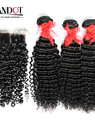 3 Bundles Brazilian Curly Virgin Hair With Closure Unprocessed Human Hair Weave And Free/Middle Part Lace Top Closure