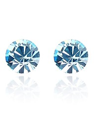 Blinking Star Stud Earring Plated with 18K True Platinum Aquamarine Crystallized Austrian Crystal Stones
