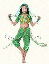 Belly Dance Performance Outfits Children's Performance Fashion Polyester Sequins Outfit Green/Red Kids Dance Costumes