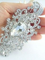 Wedding Accessories Silver-tone Clear Rhinestone Crystal Bridal Brooch Wedding Deco Flower Brooch Bouquet Bridal Jewelry