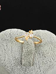 KuNiu Women's High Quality Classic 18K Gold Plated White Zircon Wedding Rings J0322