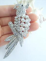 Women Accessories Silver-tone Clear Rhinestone Crystal Brooch Art Deco Bird Parrot Brooch Women Jewelry