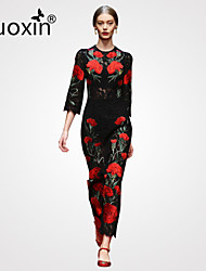 nuoxin® Women's Round Collar Collect Waist The Embroidery Hollow Out Noble Holiday Birthday Party Long Dress