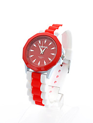 Unisex's Candy Color Patchwork Band Geneva Round Dial Quartz Watch(Assorted Color) Cool Watches Unique Watches