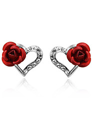 T&C Women's Heart Red Rose Stud Earrings 18K White Gold Plated Jewelry with Austrian Crystal