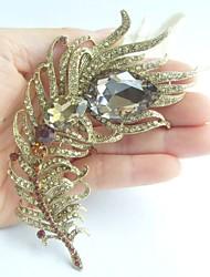 Women Accessories Gold-tone Topaz Rhinestone Crystal Peacock Feather Brooch Art Deco Brooch Bouquet Women Jewelry