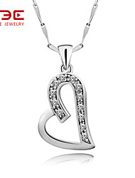 NBE Sterling Silver/Zircon Necklace Heart Pendant Necklaces Wedding/Party/Daily/Casual 1pc