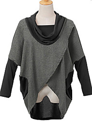 Women's Casual/Cute Shawl Long Sleeve Tops & Blouses (Cotton/Tweed)