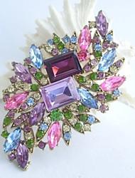 Women Accessories Gold-tone Multicolor Rhinestone Crystal Brooch Bouquet Art Deco Flower Brooch Women Jewelry