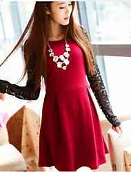 Vestidos ( Tela de Encaje )- Casual Redondo Manga Larga para Mujer